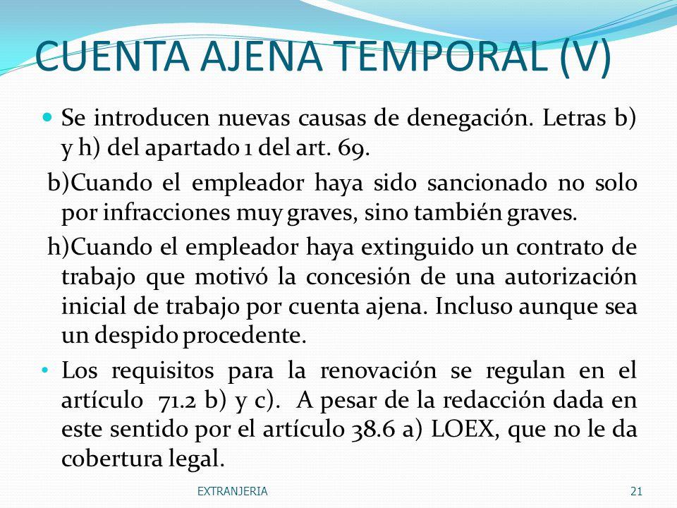 CUENTA AJENA TEMPORAL (V)