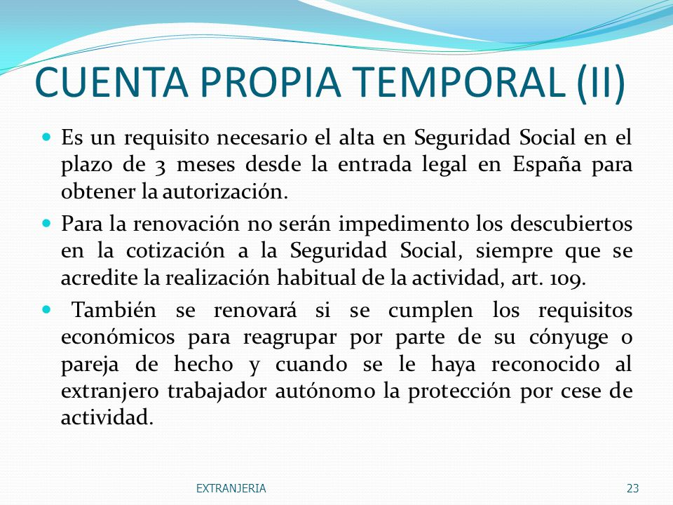 CUENTA PROPIA TEMPORAL (II)