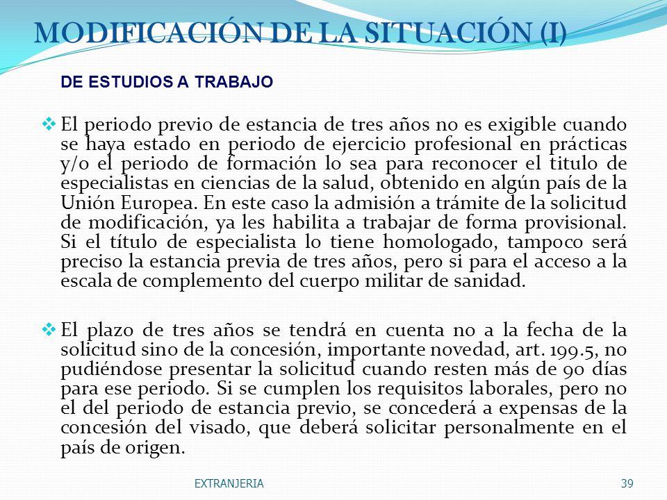 MODIFICACIÓN DE LA SITUACIÓN (I)