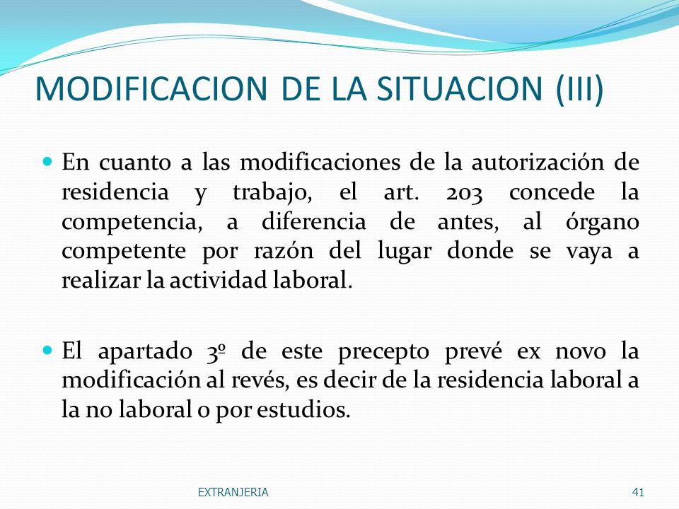 MODIFICACION DE LA SITUACION (III)
