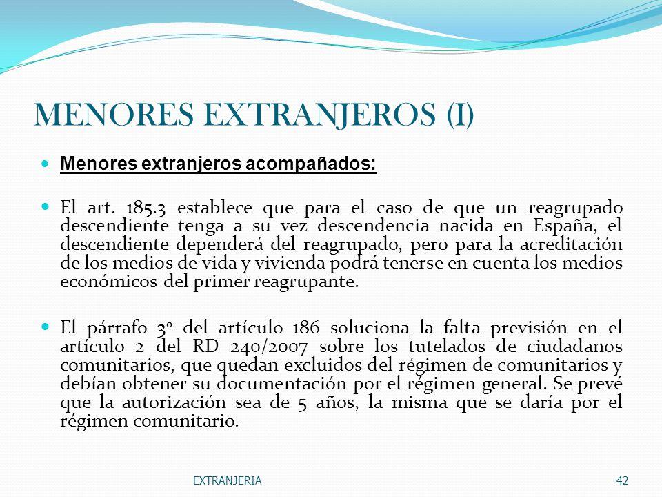 MENORES EXTRANJEROS (I)