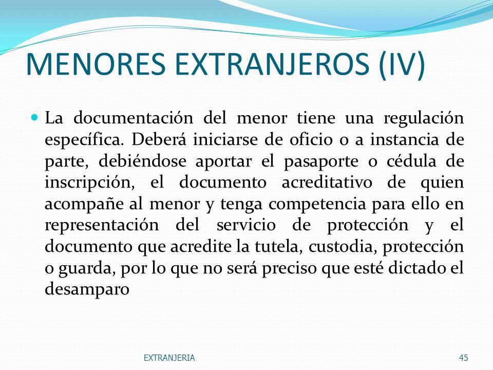 MENORES EXTRANJEROS (IV)
