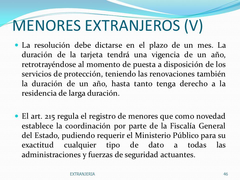 MENORES EXTRANJEROS (V)