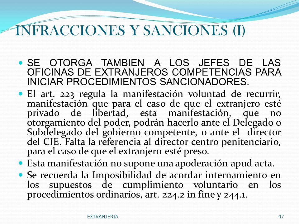 INFRACCIONES Y SANCIONES (I)