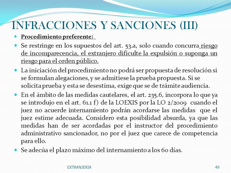 INFRACCIONES Y SANCIONES (III)