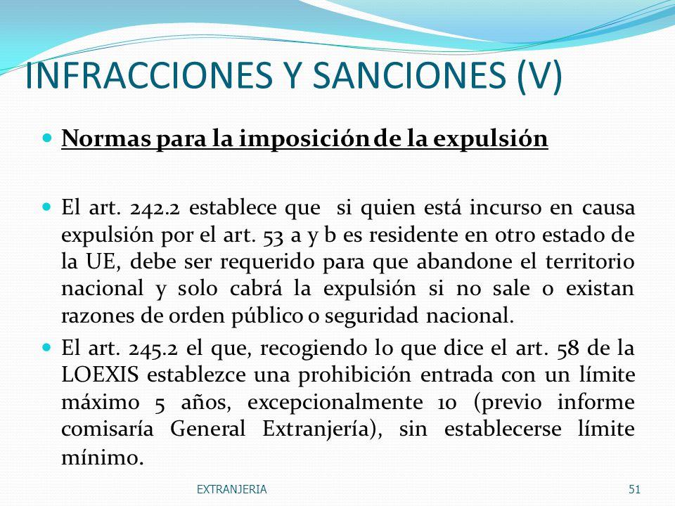 INFRACCIONES Y SANCIONES (V)