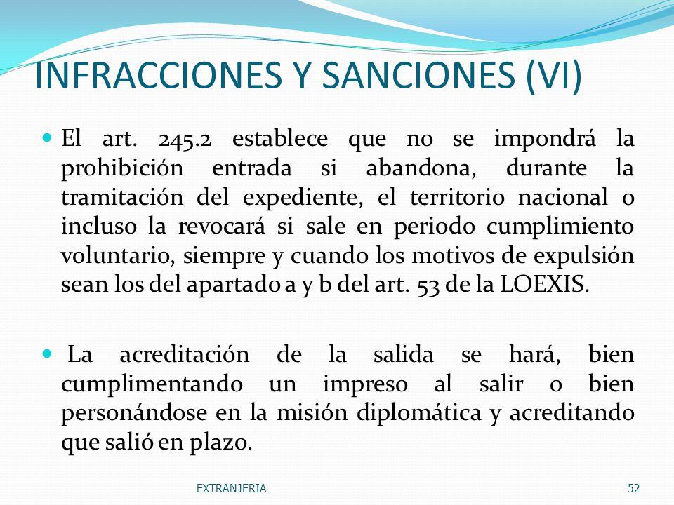 INFRACCIONES Y SANCIONES (VI)