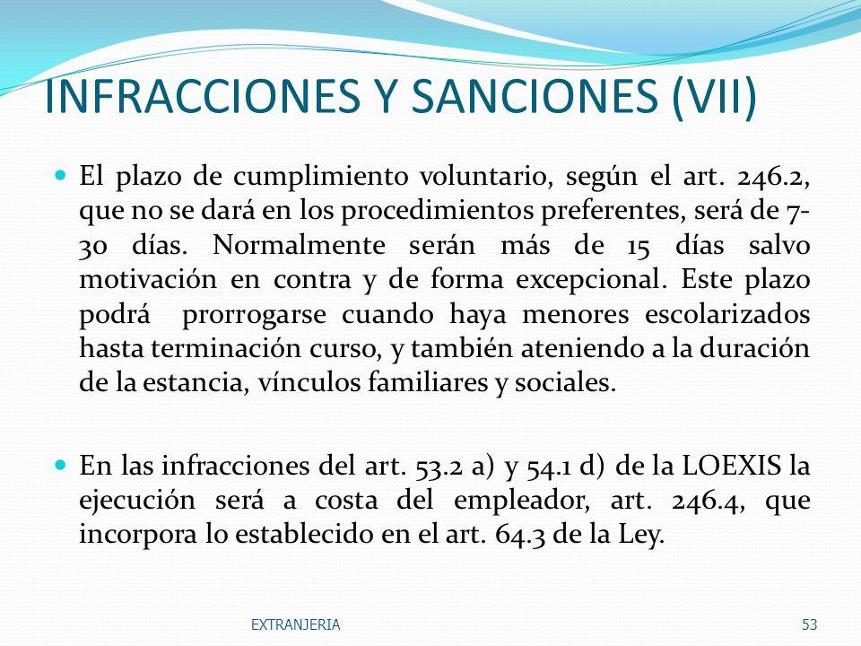 INFRACCIONES Y SANCIONES (VII)