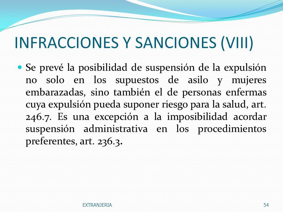 INFRACCIONES Y SANCIONES (VIII)