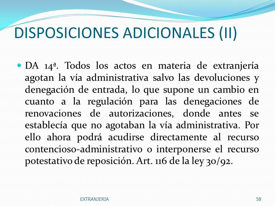 DISPOSICIONES ADICIONALES (II)