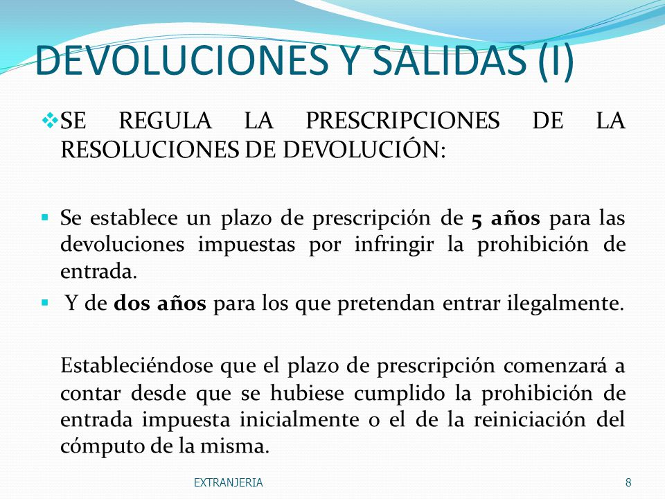 DEVOLUCIONES Y SALIDAS (I)