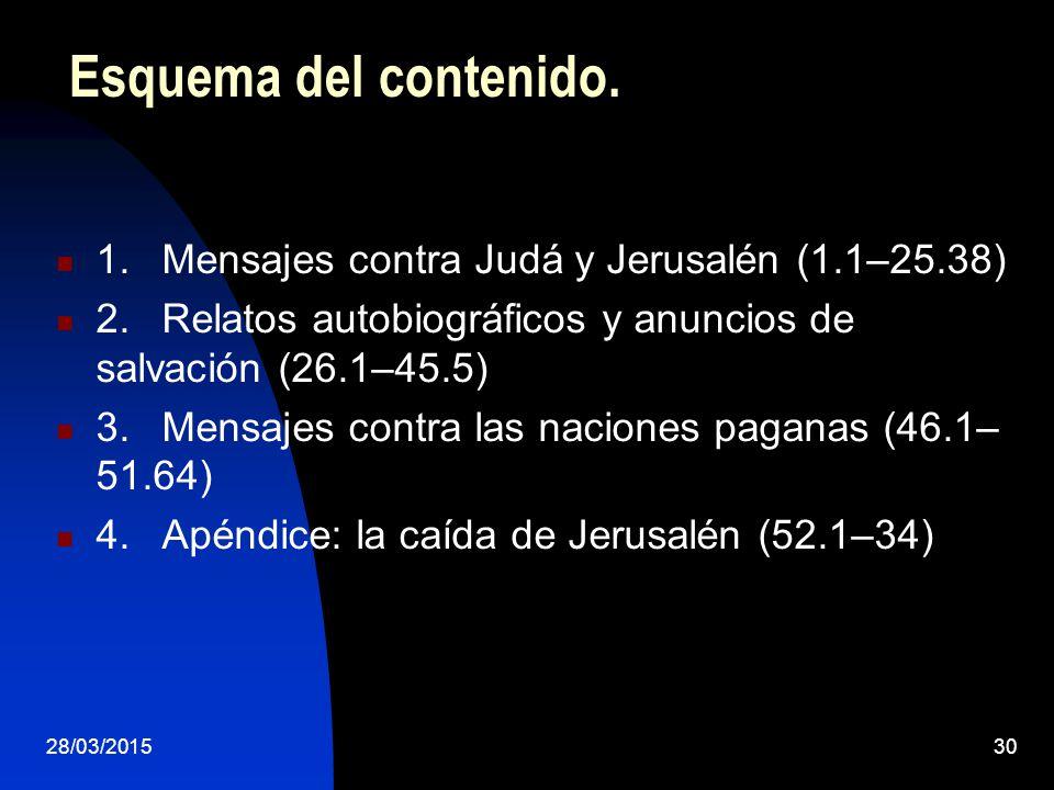 Esquema del contenido. 1. Mensajes contra Judá y Jerusalén (1.1–25.38)