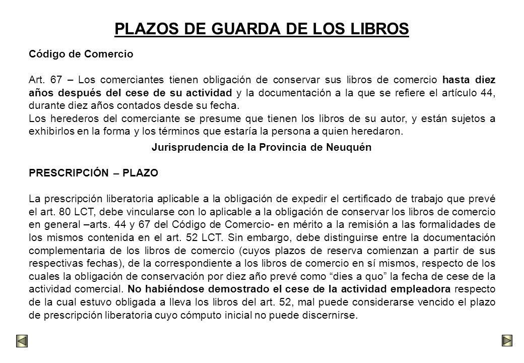 PLAZOS DE GUARDA DE LOS LIBROS