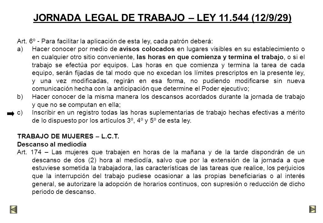 JORNADA LEGAL DE TRABAJO – LEY 11.544 (12/9/29)