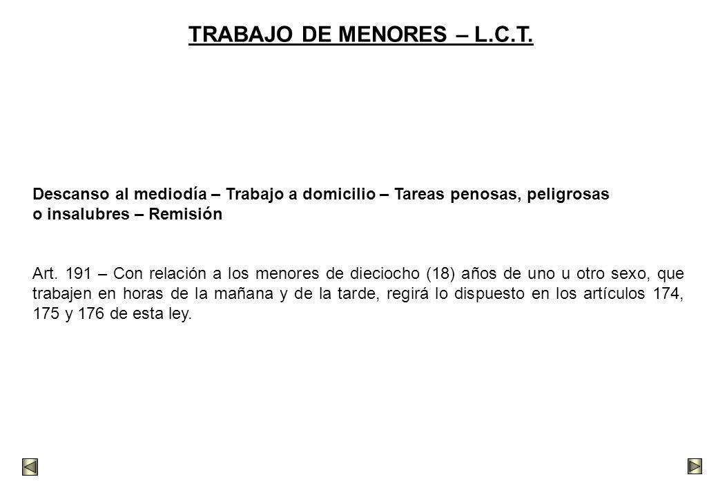 TRABAJO DE MENORES – L.C.T.