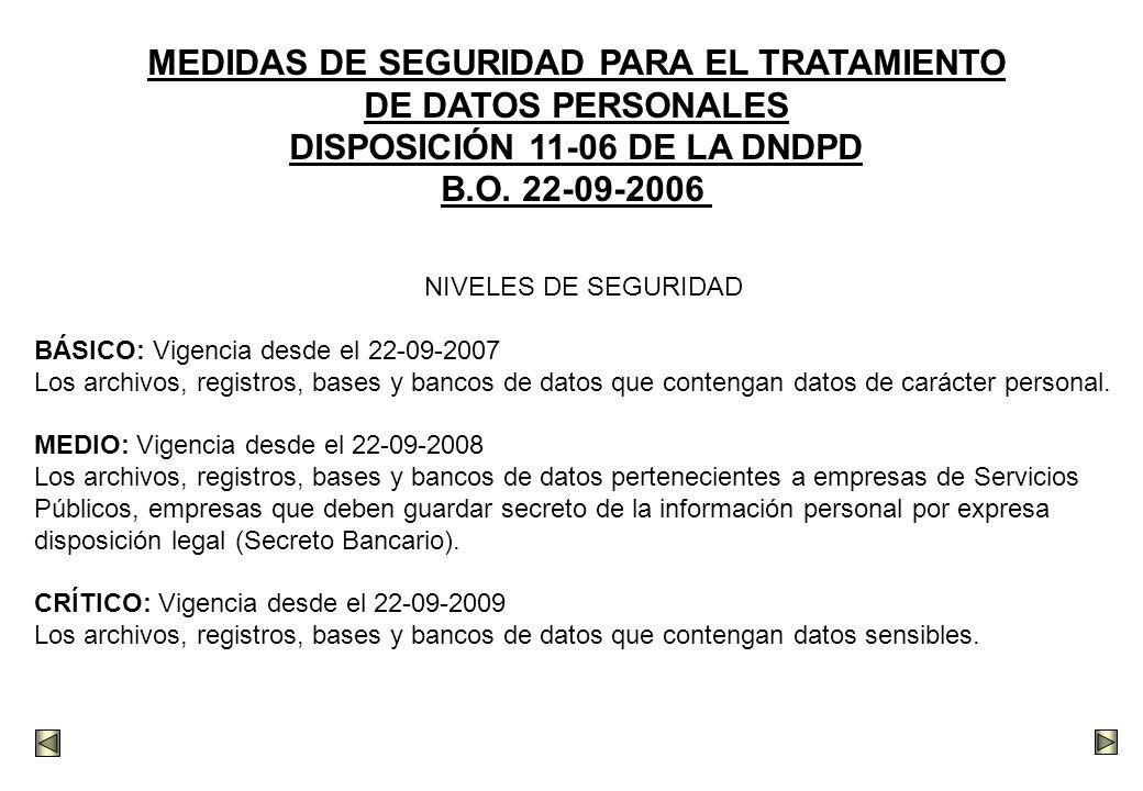 MEDIDAS DE SEGURIDAD PARA EL TRATAMIENTO DISPOSICIÓN 11-06 DE LA DNDPD