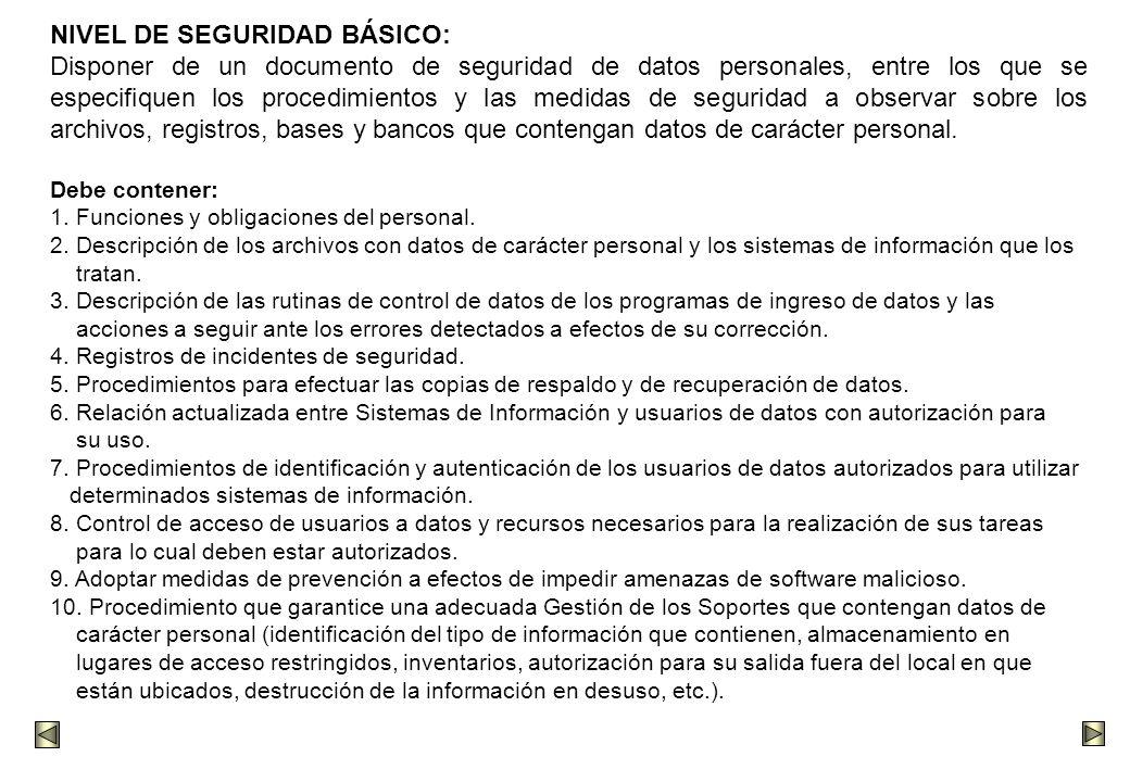 NIVEL DE SEGURIDAD BÁSICO: