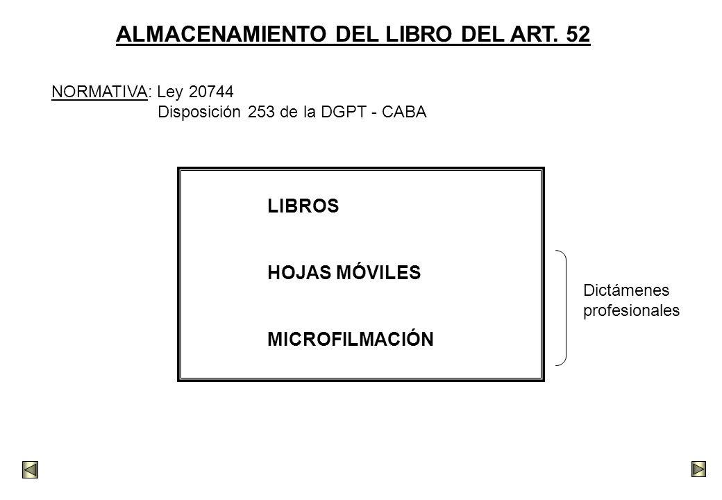 ALMACENAMIENTO DEL LIBRO DEL ART. 52