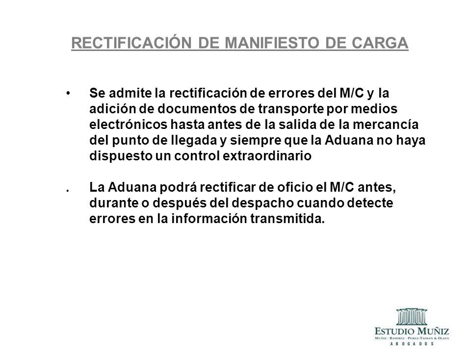 RECTIFICACIÓN DE MANIFIESTO DE CARGA