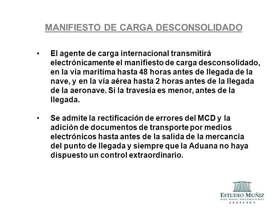 MANIFIESTO DE CARGA DESCONSOLIDADO