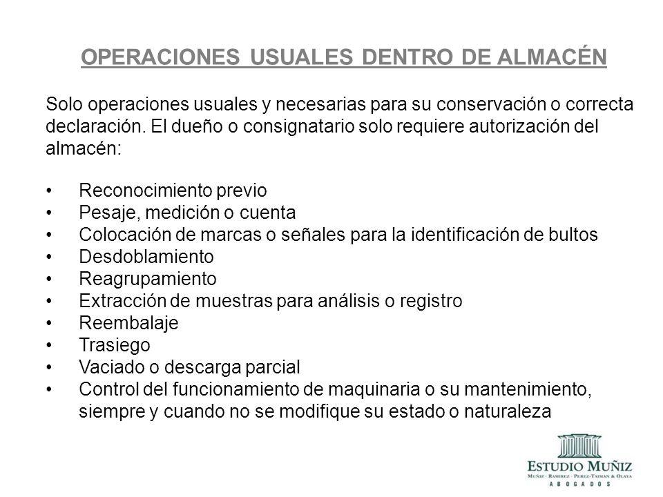 OPERACIONES USUALES DENTRO DE ALMACÉN