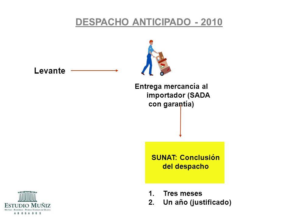 DESPACHO ANTICIPADO - 2010 Levante Entrega mercancía al