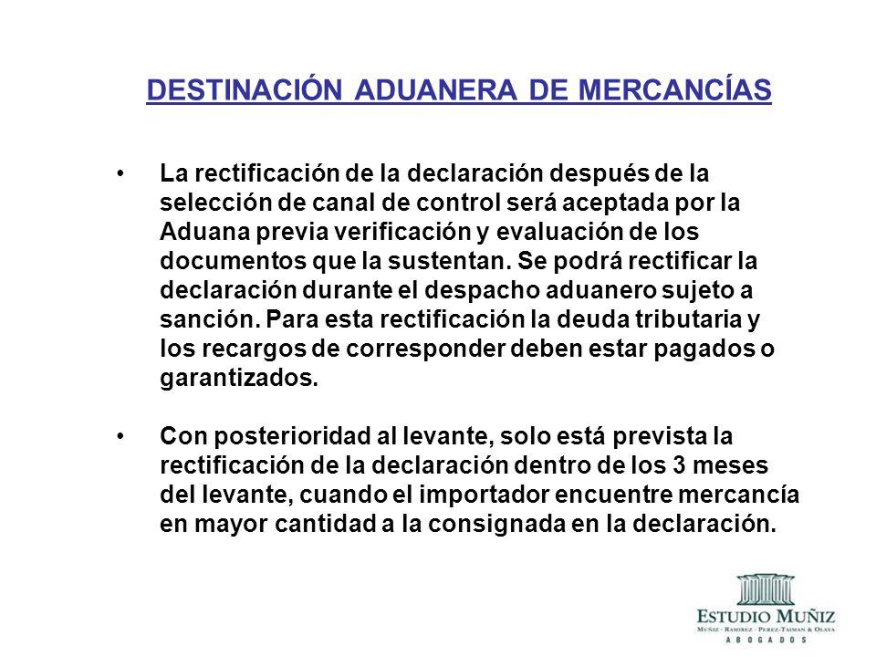 DESTINACIÓN ADUANERA DE MERCANCÍAS
