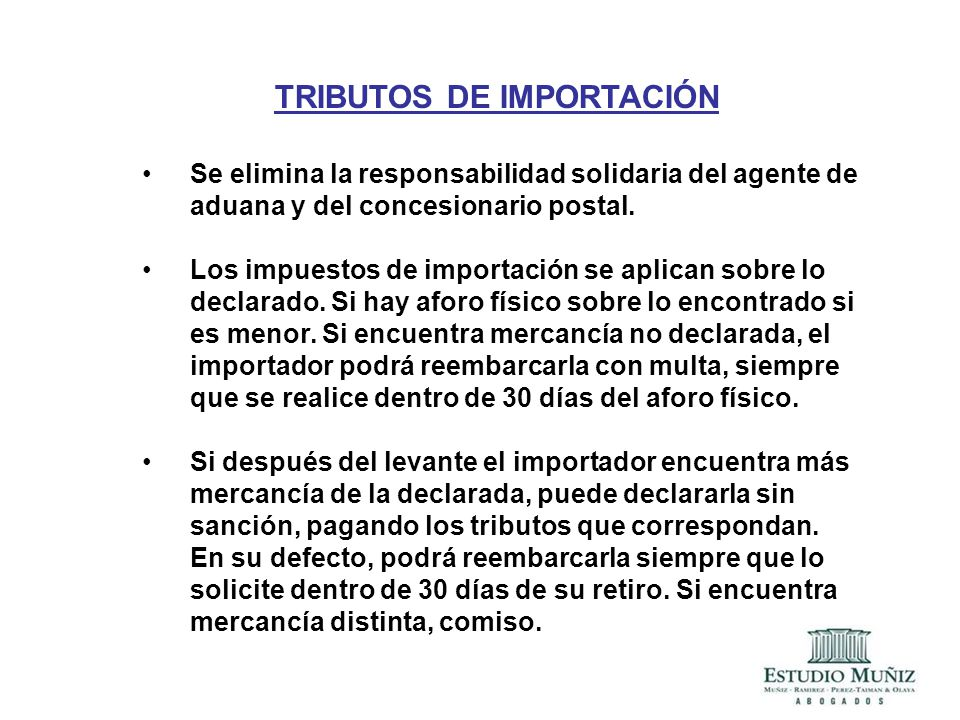 TRIBUTOS DE IMPORTACIÓN