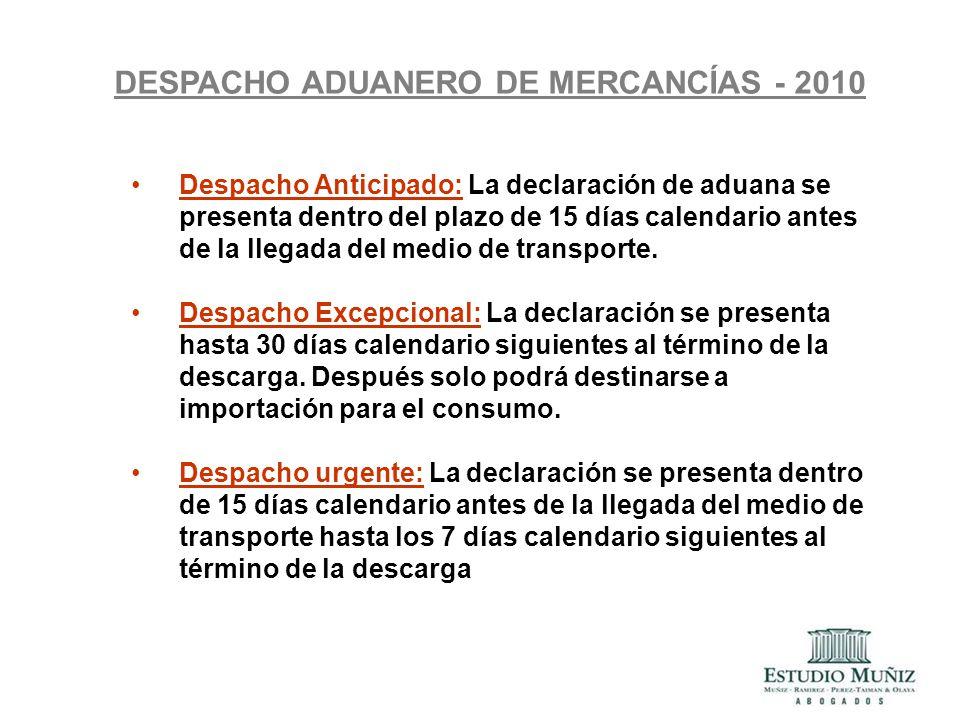 DESPACHO ADUANERO DE MERCANCÍAS - 2010