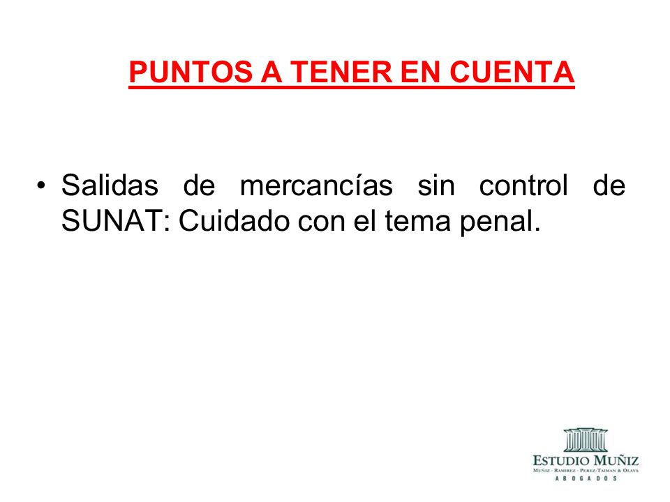 PUNTOS A TENER EN CUENTA