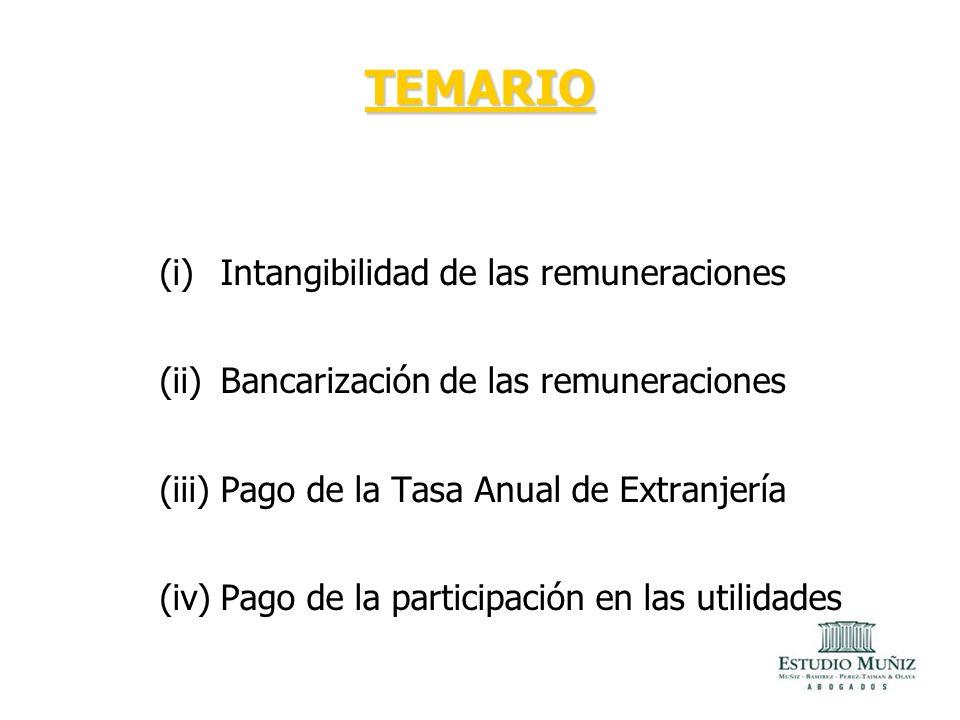 TEMARIO Intangibilidad de las remuneraciones