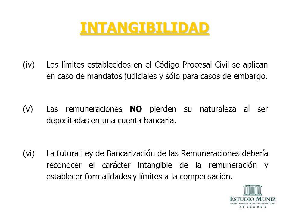 INTANGIBILIDAD Los límites establecidos en el Código Procesal Civil se aplican en caso de mandatos judiciales y sólo para casos de embargo.