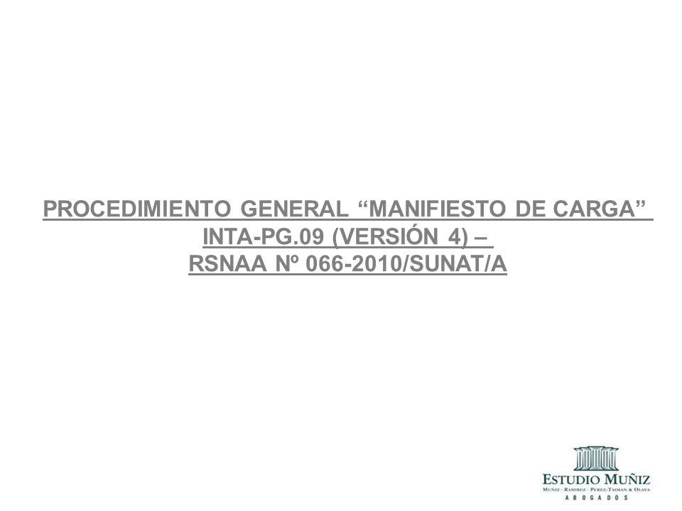 PROCEDIMIENTO GENERAL MANIFIESTO DE CARGA