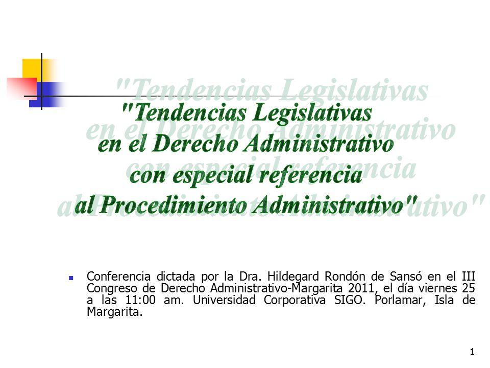 Tendencias Legislativas en el Derecho Administrativo