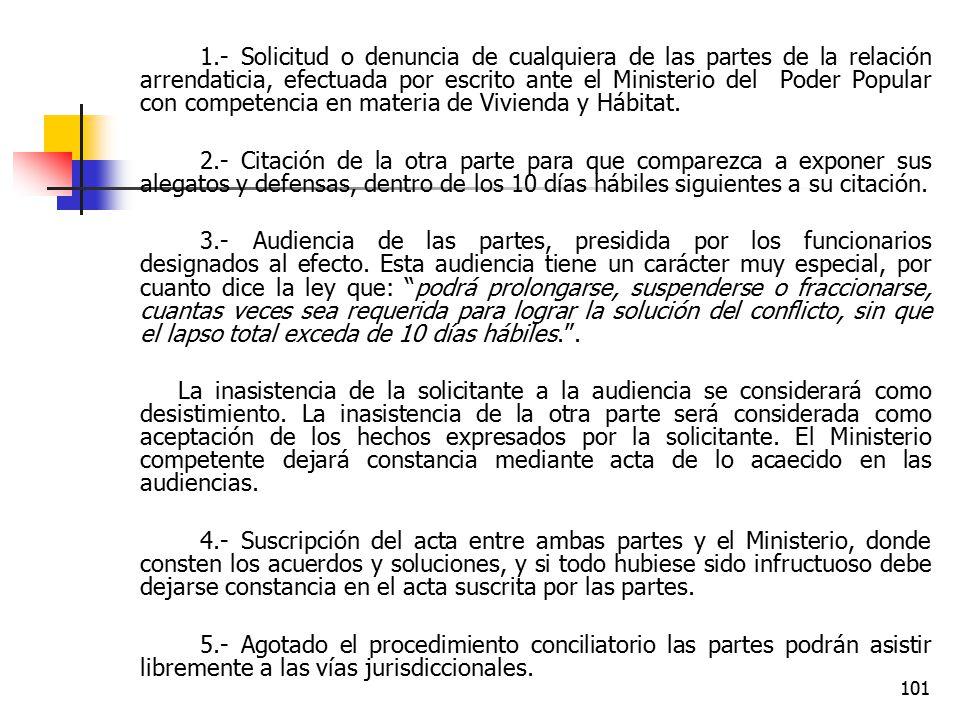 1.- Solicitud o denuncia de cualquiera de las partes de la relación arrendaticia, efectuada por escrito ante el Ministerio del Poder Popular con competencia en materia de Vivienda y Hábitat.