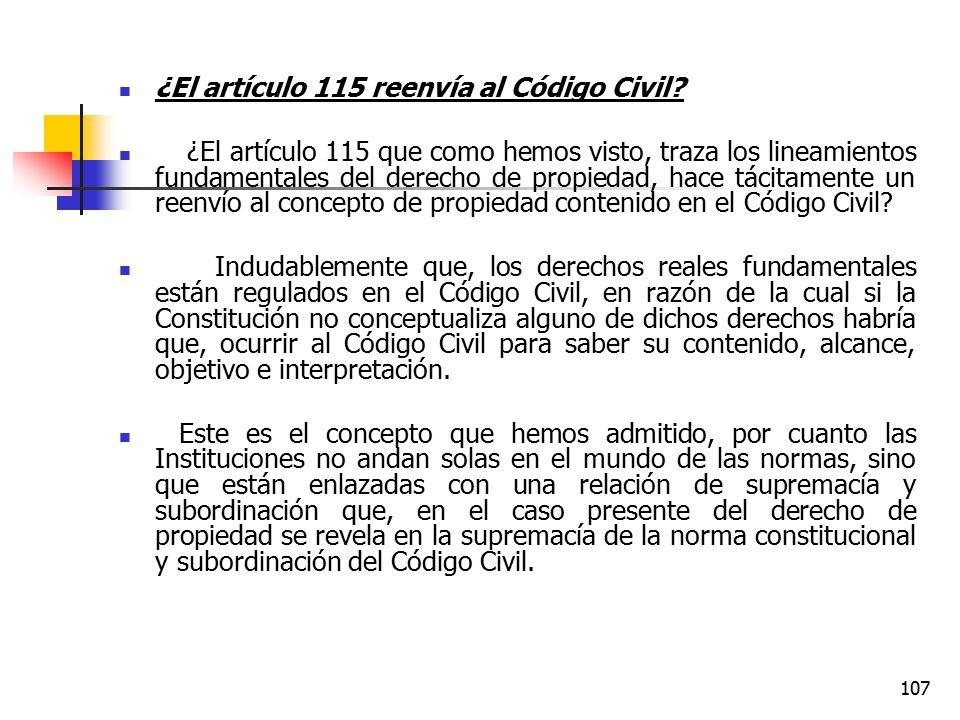 ¿El artículo 115 reenvía al Código Civil