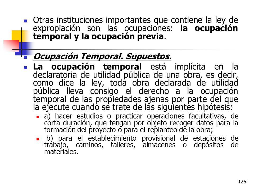 Ocupación Temporal. Supuestos.