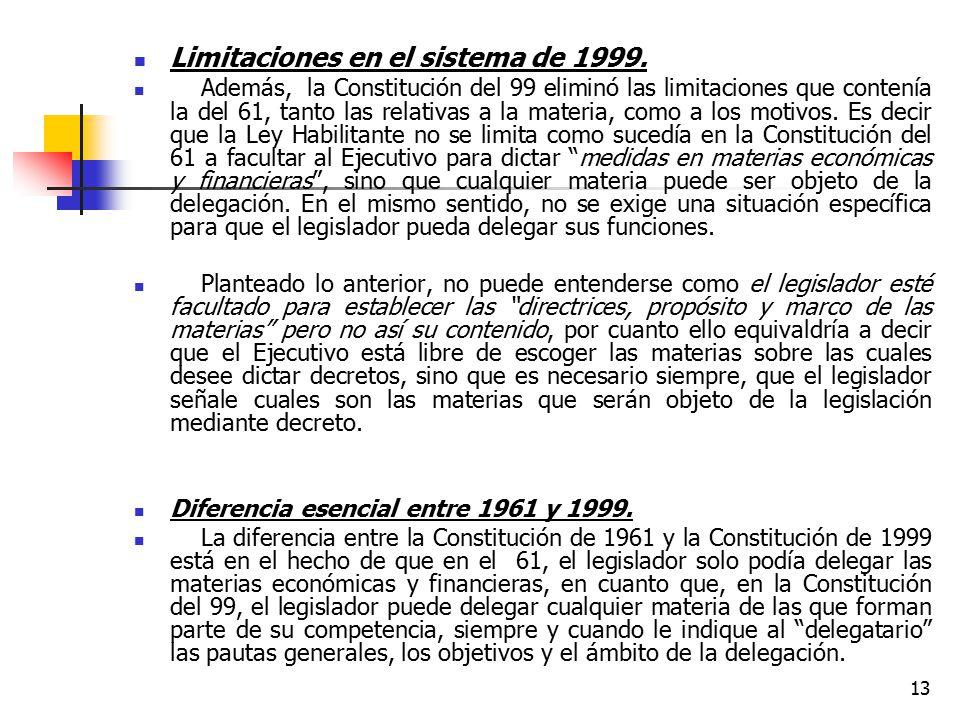 Limitaciones en el sistema de 1999.