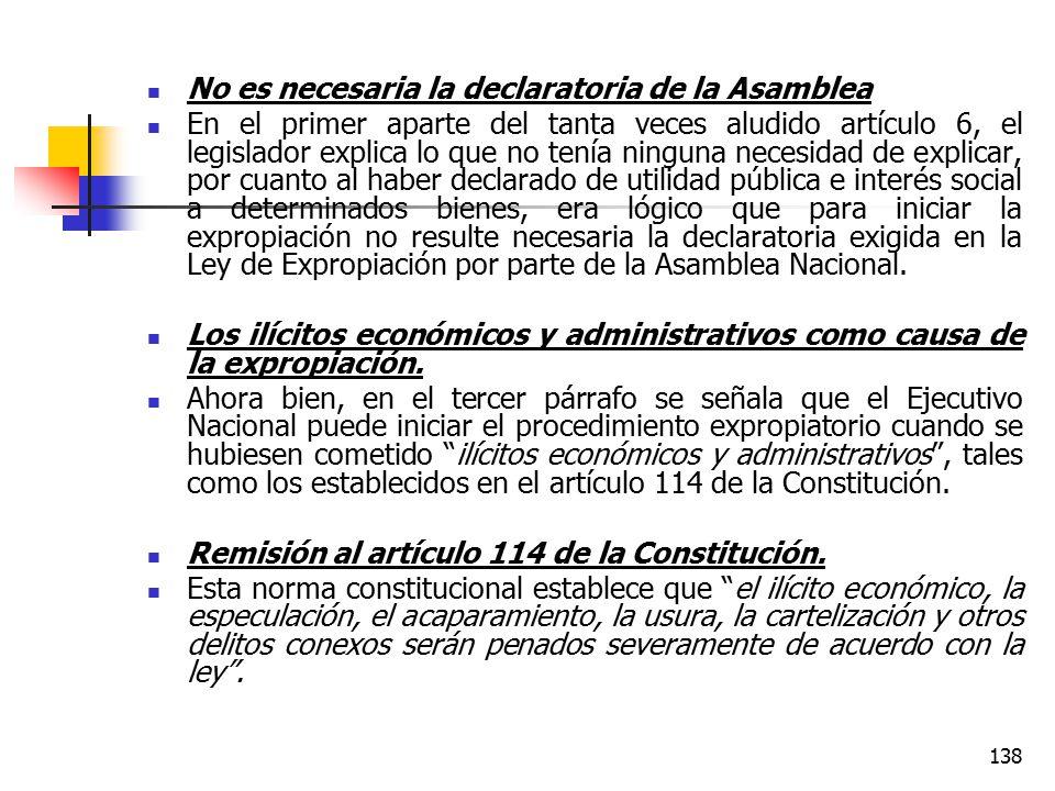 No es necesaria la declaratoria de la Asamblea