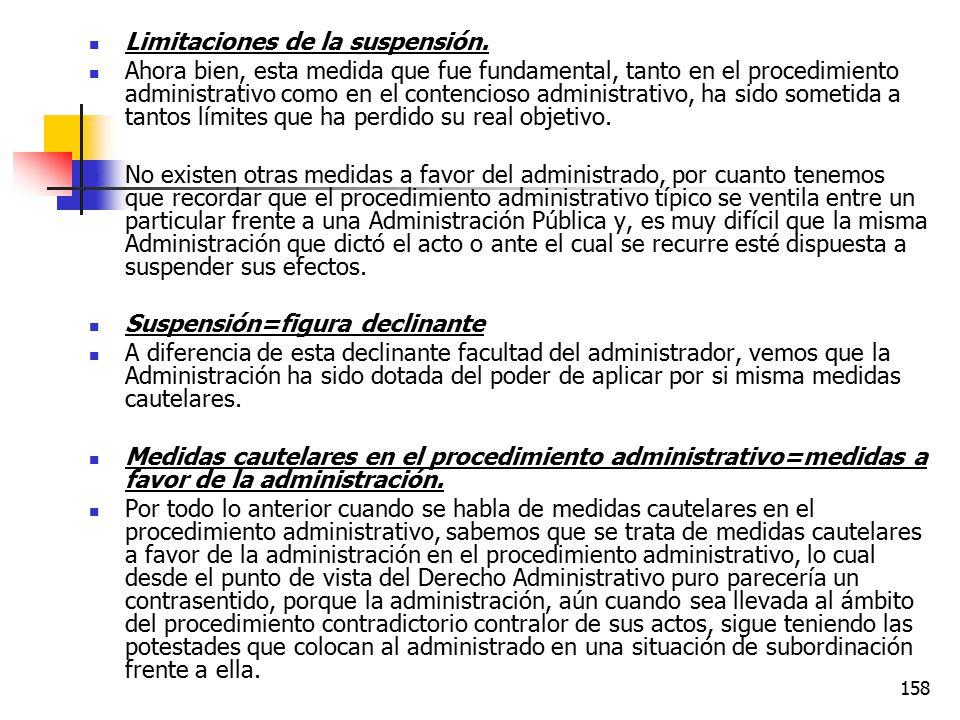Limitaciones de la suspensión.