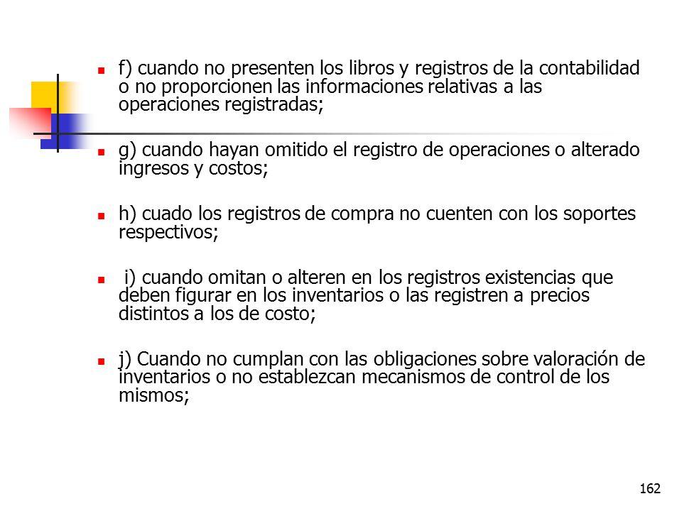 f) cuando no presenten los libros y registros de la contabilidad o no proporcionen las informaciones relativas a las operaciones registradas;