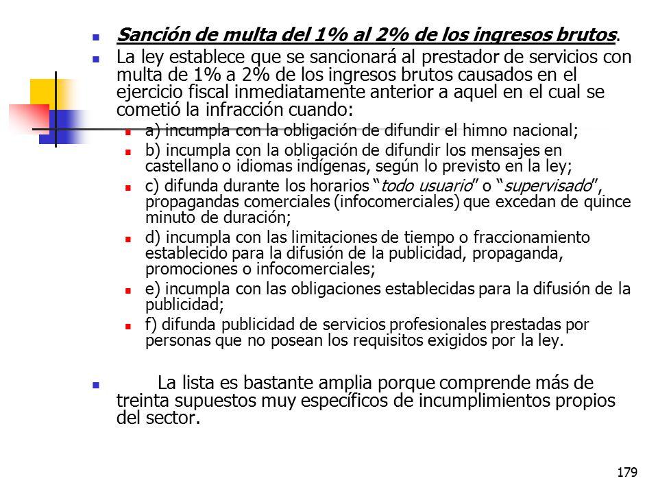 Sanción de multa del 1% al 2% de los ingresos brutos.