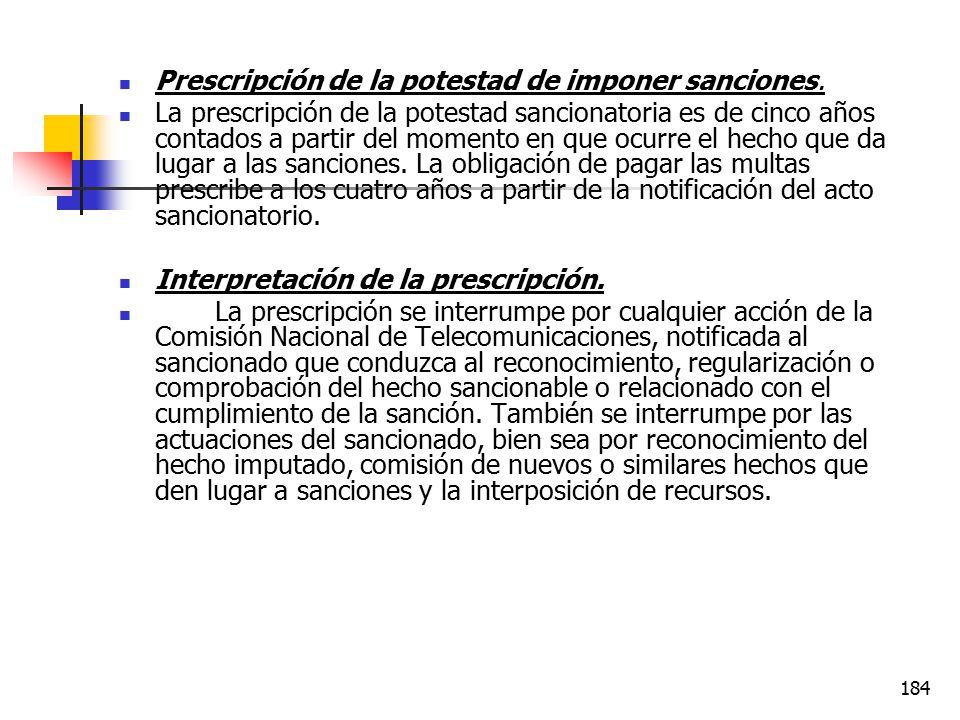 Prescripción de la potestad de imponer sanciones.