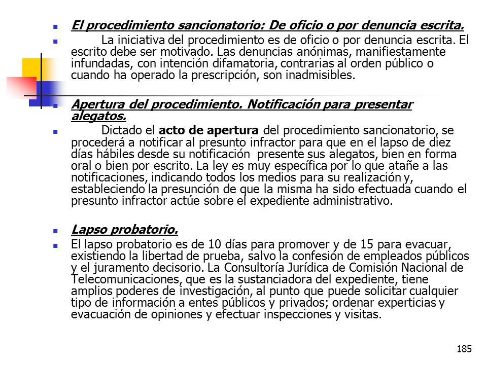 El procedimiento sancionatorio: De oficio o por denuncia escrita.