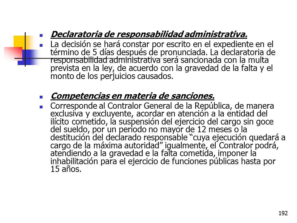 Declaratoria de responsabilidad administrativa.