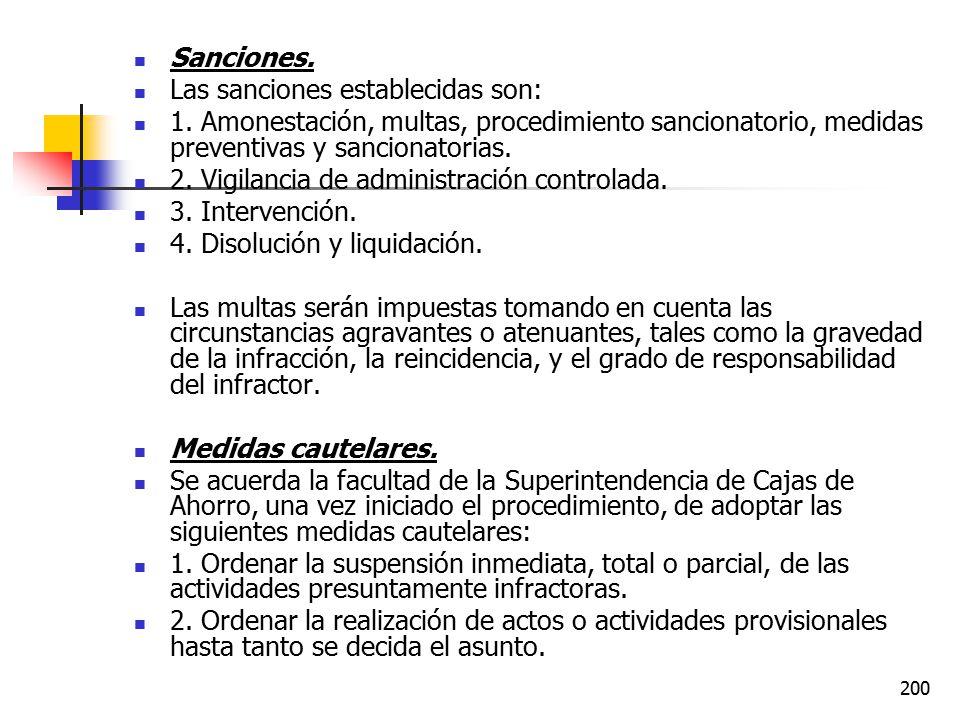 Sanciones. Las sanciones establecidas son: 1. Amonestación, multas, procedimiento sancionatorio, medidas preventivas y sancionatorias.