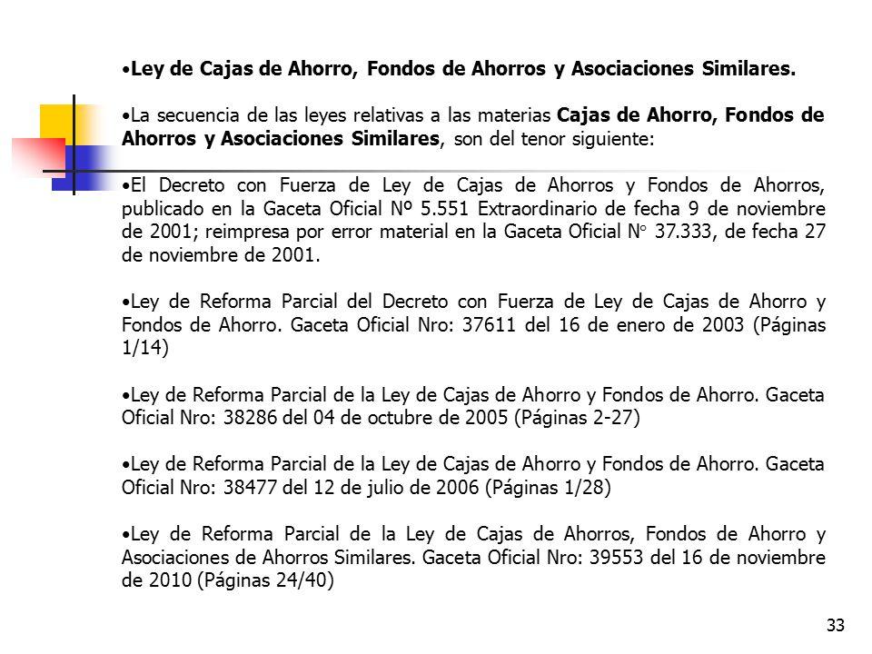 Ley de Cajas de Ahorro, Fondos de Ahorros y Asociaciones Similares.