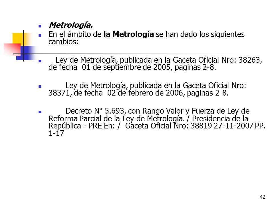 Metrología. En el ámbito de la Metrología se han dado los siguientes cambios: