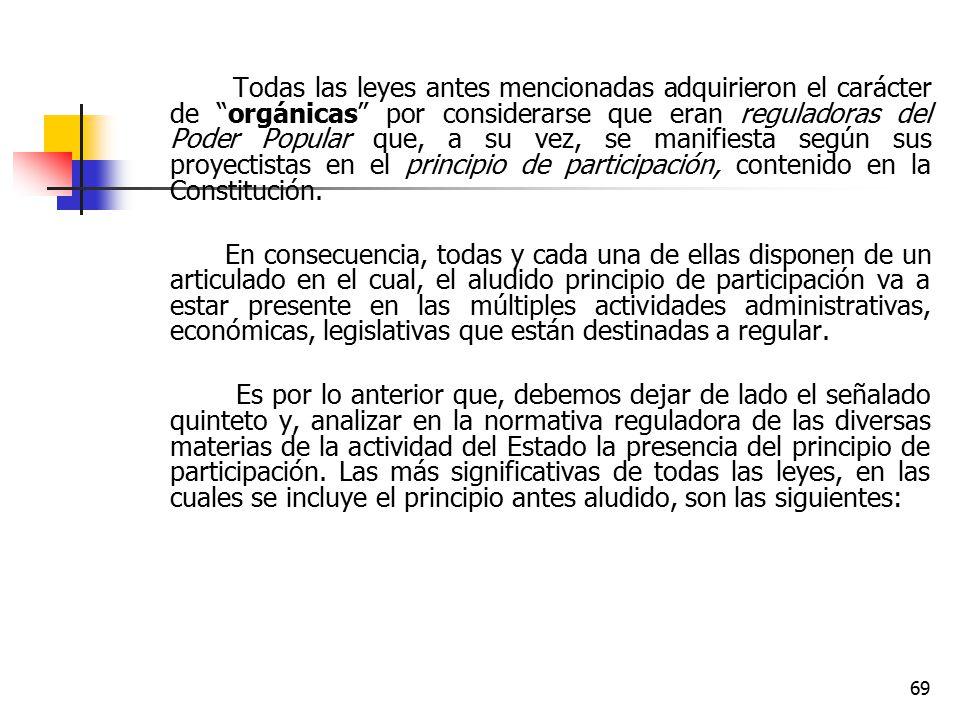 Todas las leyes antes mencionadas adquirieron el carácter de orgánicas por considerarse que eran reguladoras del Poder Popular que, a su vez, se manifiesta según sus proyectistas en el principio de participación, contenido en la Constitución.
