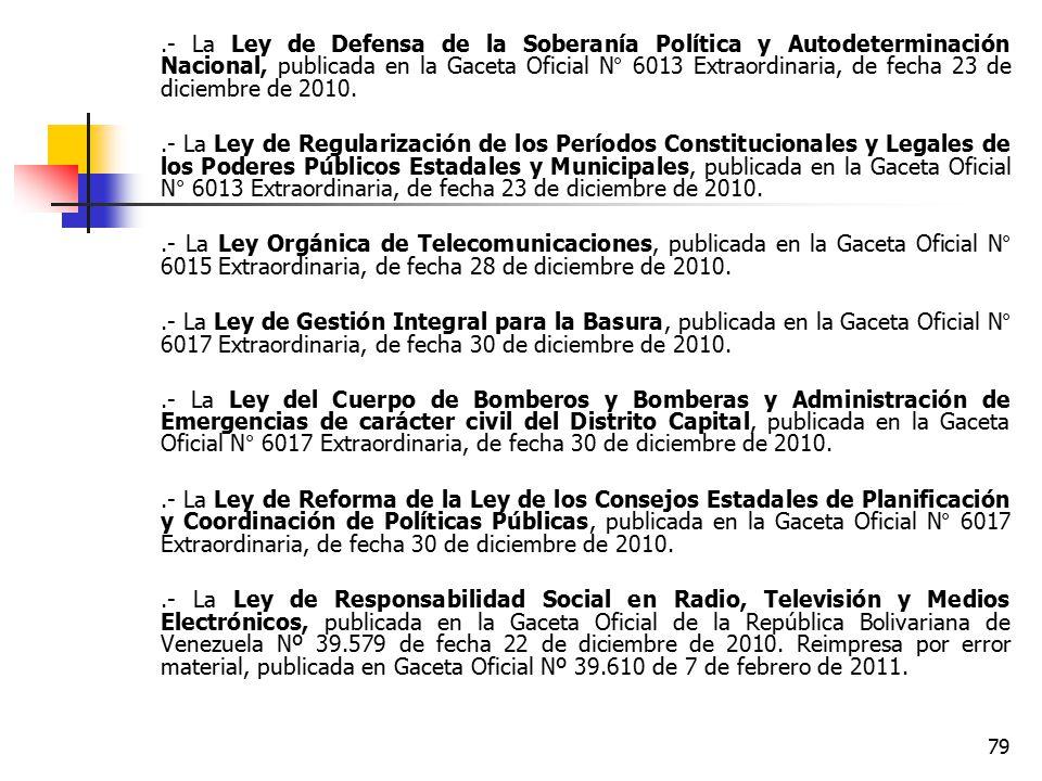 .- La Ley de Defensa de la Soberanía Política y Autodeterminación Nacional, publicada en la Gaceta Oficial N° 6013 Extraordinaria, de fecha 23 de diciembre de 2010.